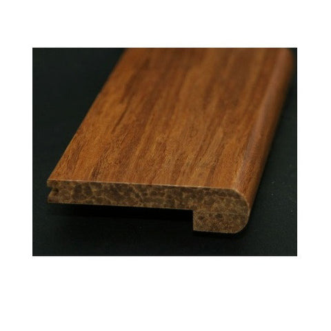 Solid Strand Woven Bamboo Tongue & Groove Carbonized Hand-Scraped Stair-Nose