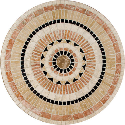 "Daltile Medallion Collection 36"" Round Star Burst Natural Stone Tile"