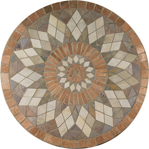 "Daltile Medallion Collection 36"" Round Zinnia Natural Stone Tile"