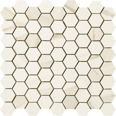 "Marazzi Timeless Collection 13""x13"" Calacatta Pearl Hexagon Mosaic"