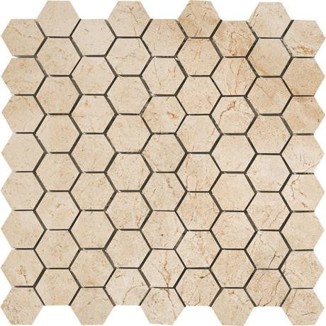"Marazzi Timeless Collection 13""x13"" Marfil Cream Hexagon Mosaic"