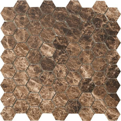 "Marazzi Timeless Collection 13""x13"" Emperador Mocha Hexagon Mosaic"
