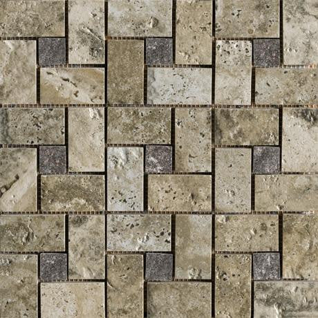 "Marazzi Archaeology 13""x13"" Crystal River Glass Pinwheel Mosaic"