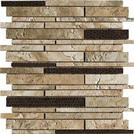 "Marazzi Archaeology 12""x12"" Babylon Random Strip Mosaic - American Fast Floors"