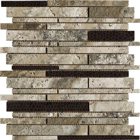 "Marazzi Archaeology 12""x12"" Crystal River Random Strip Mosaic"
