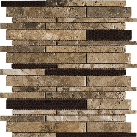 "Marazzi Archaeology 12""x12"" Troy Random Strip Mosaic"