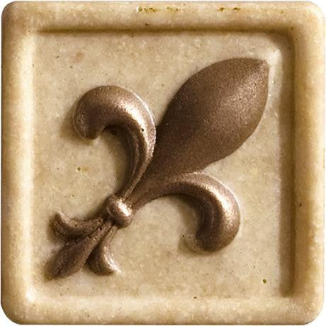 "Marazzi Romancing The Stone 2""x2"" Ivory Fleur De Lis Insert With Bronze Inlay - American Fast Floors"