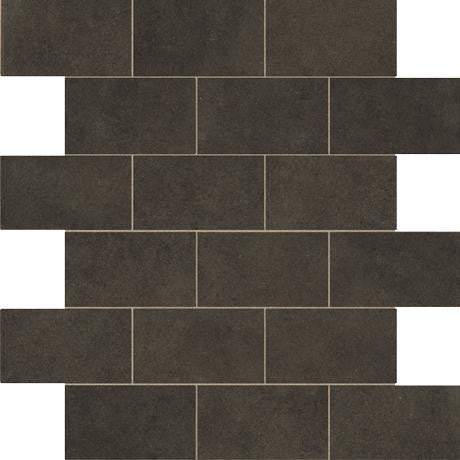 "Marazzi Essentials 12""x12"" Basic Black Brick Mosaic"