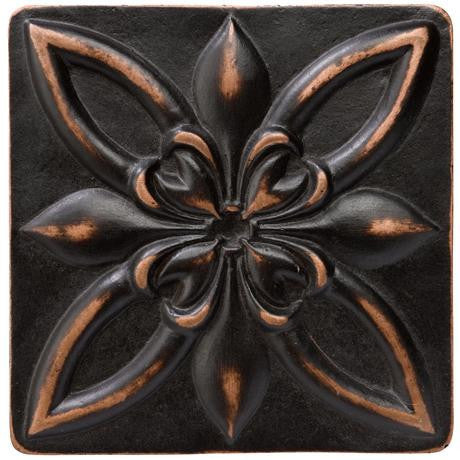 "Marazzi Romance Collection 1""x1"" Venetian Bronze Floral Insert - American Fast Floors"