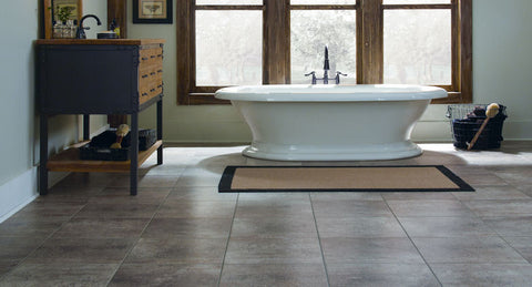 "Tarkett LVT Tibur Stone 16"" Groutless Tile Emperador - American Fast Floors"