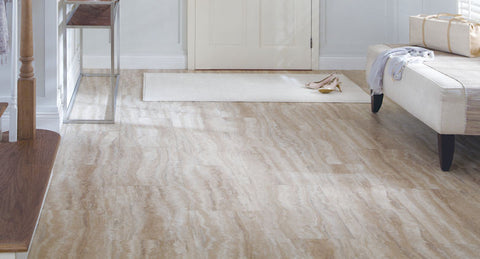 "Tarkett LVT Tibur Stone 16"" Groutless Tile Crema"