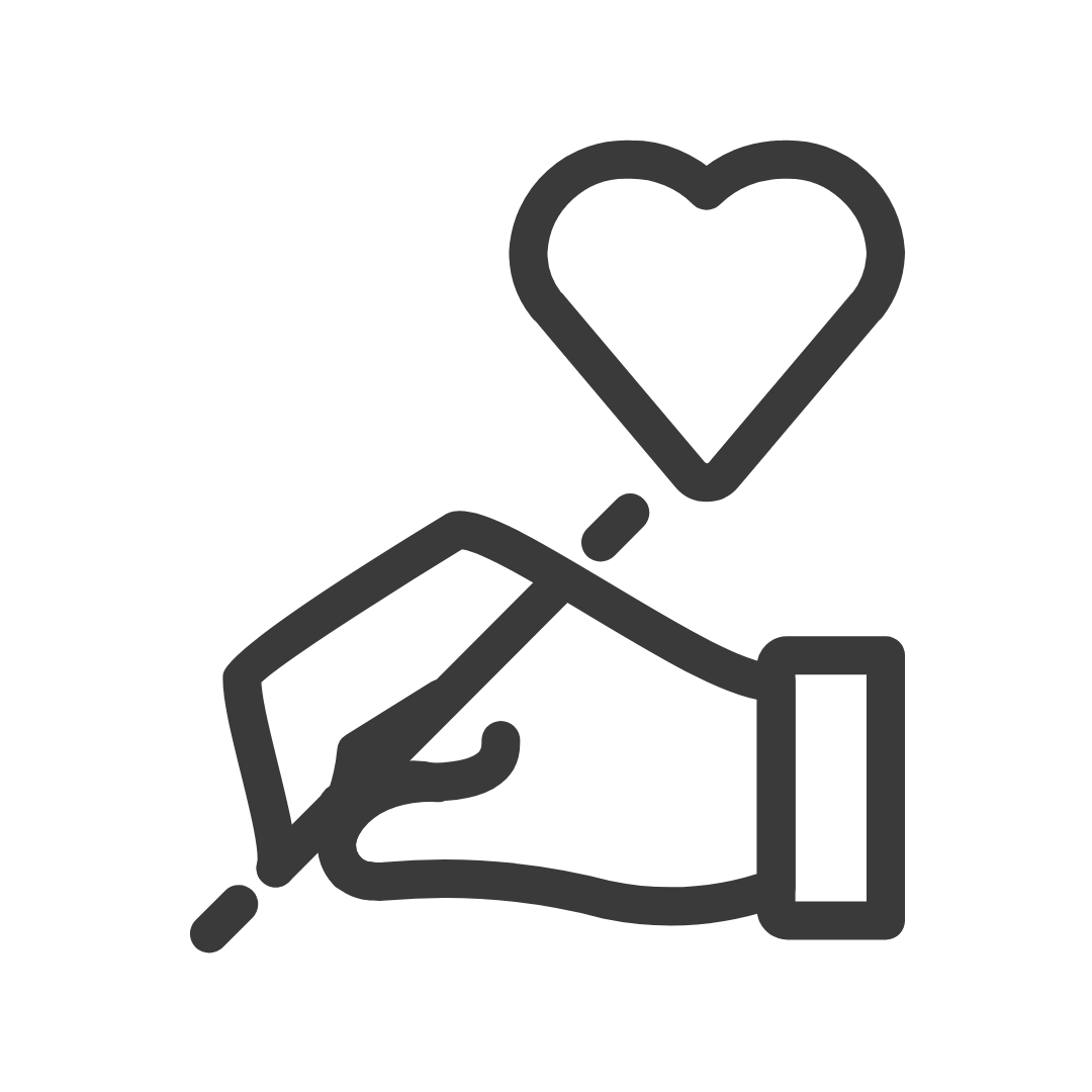 hand writing with heart icon image