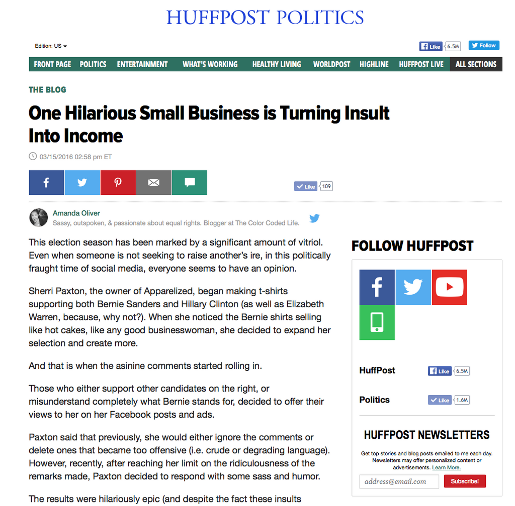 Apparelized gets a shoutout from Huffington Post