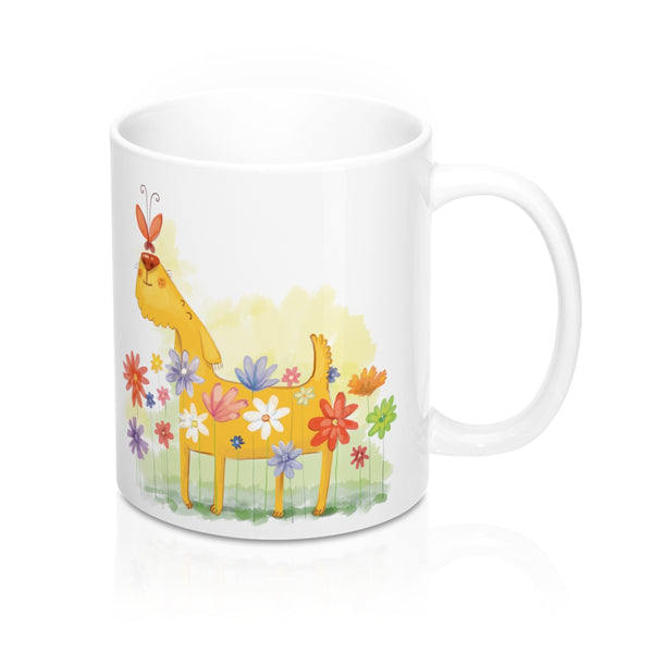 Whimsical Dog and Butterfly Mug 11oz
