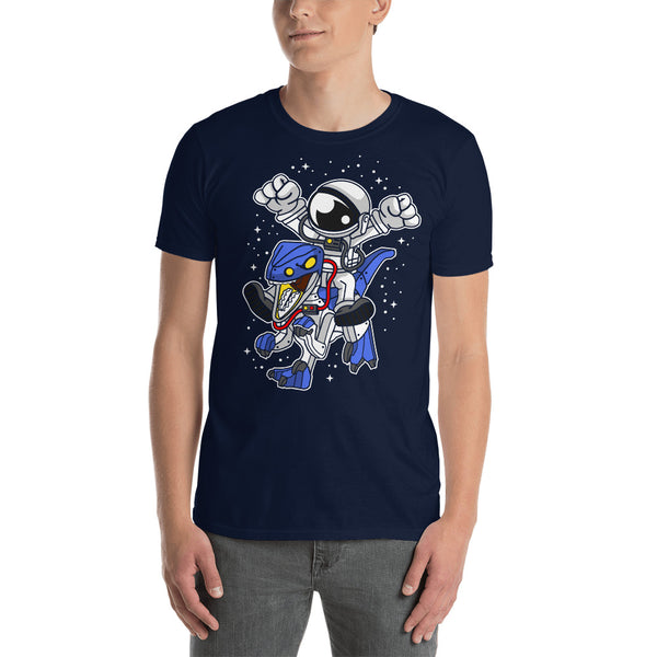 Astronaut Riding Robot Dinosaur Short-Sleeve Unisex T-Shirt