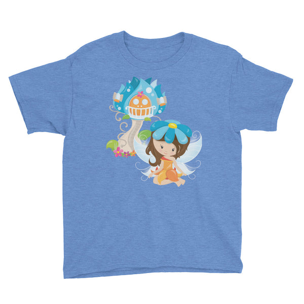 Little Fairy with House Youth Short Sleeve T-Shirt - Apparelized