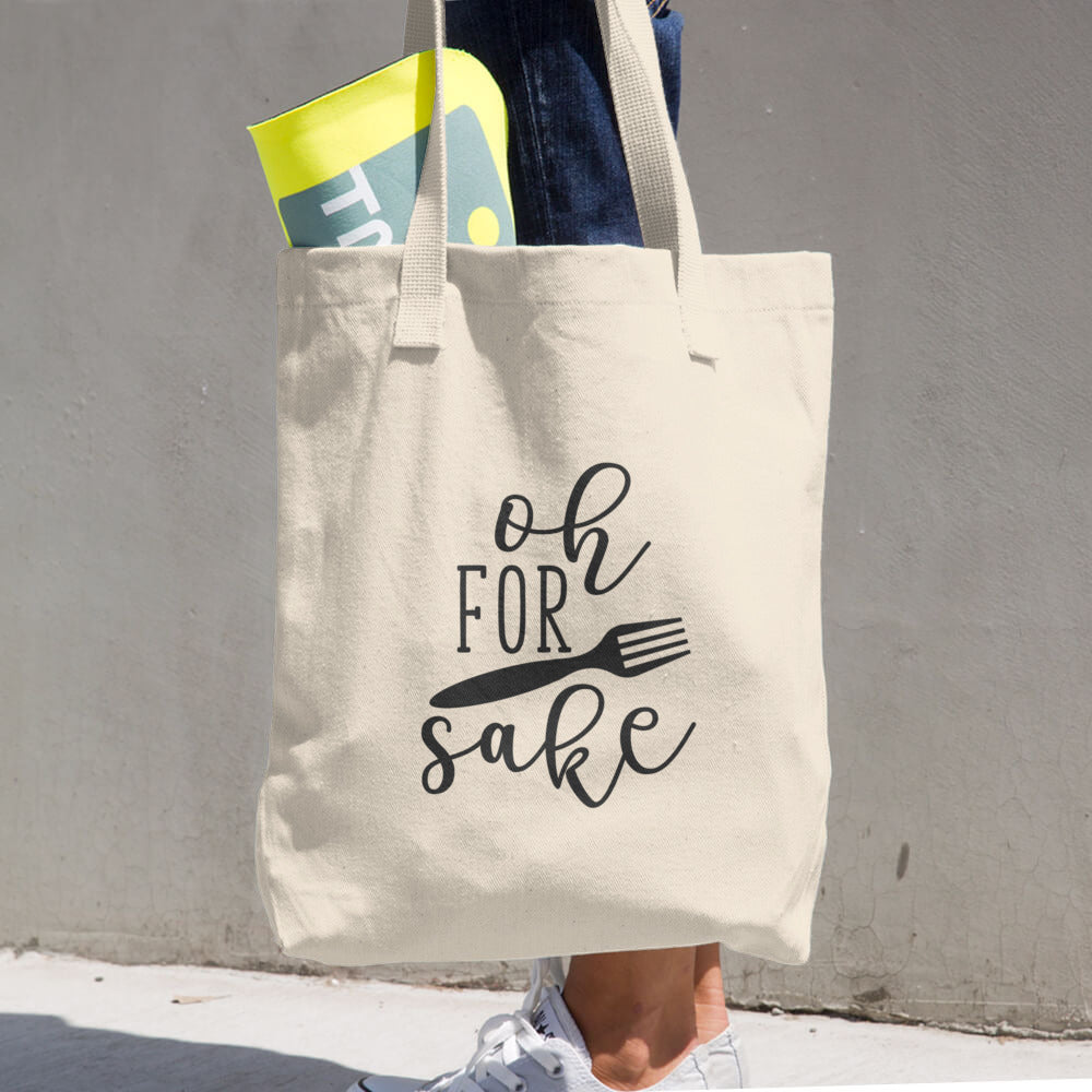 Oh For Forks Sake Cotton Grocery Re-usable Tote Bag - Apparelized