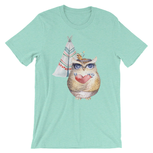 Owl and Tepee Short-Sleeve Unisex T-Shirt - Apparelized