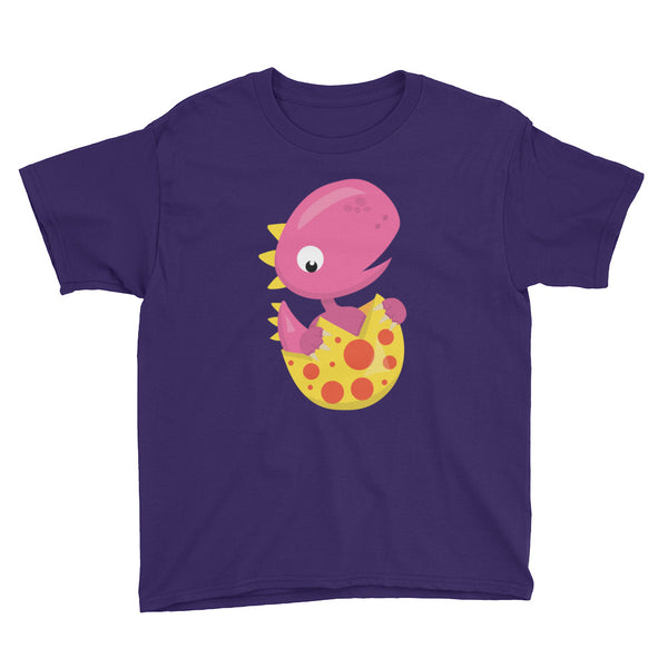 Pink Hatchling Dinosaur Youth Short Sleeve T-Shirt - Apparelized