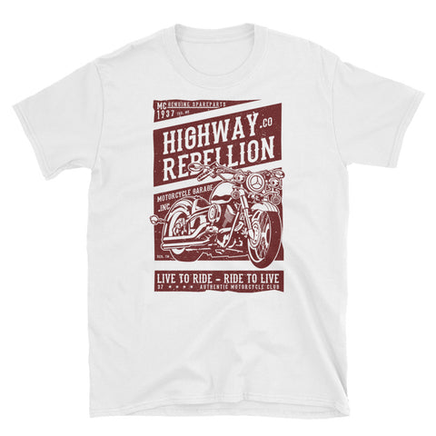 Old School Motorcycle Highway Rebellion Unisex T-Shirt - Apparelized