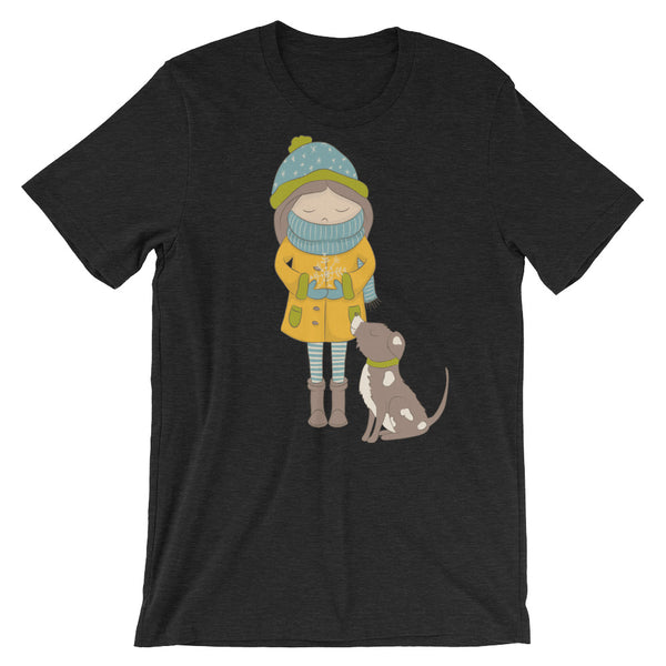 Whimsical Girl and Dog Winter Scene Short-Sleeve Unisex T-Shirt - Apparelized