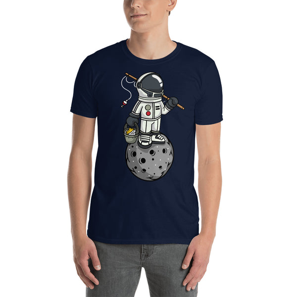 Astronaut Fishing Fun Cartoon Graphic Short-Sleeve Unisex T-Shirt