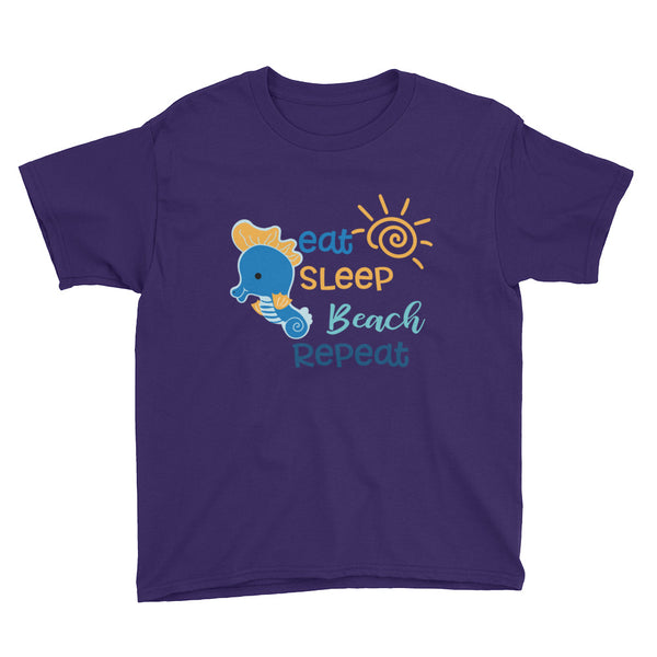 Eat, Sleep, Beach, Repeat Youth Short Sleeve T-Shirt - Apparelized