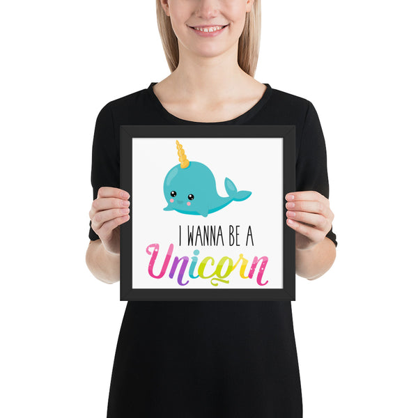 I Wanna Be A Unicorn Baby Whale Framed photo paper poster - Apparelized