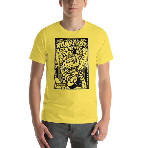 Robot Attack Short-Sleeve Unisex T-Shirt - Apparelized