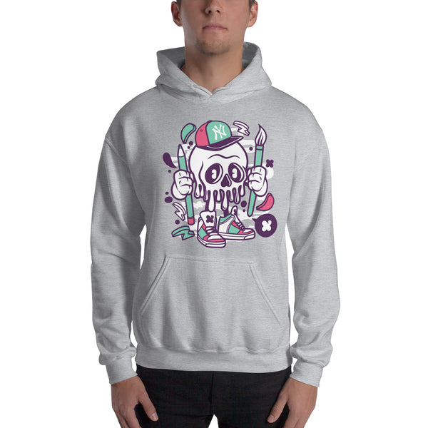 NY Artist Skull Hooded Sweatshirt - Apparelized