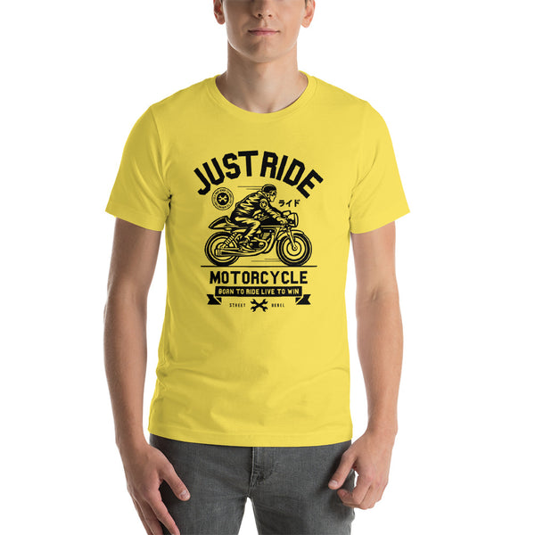 Just Ride Vintage Cafe Racer Motorcycle Short-Sleeve Unisex T-Shirt - Apparelized