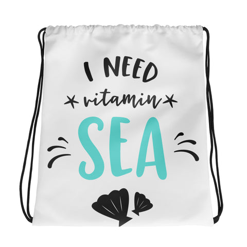 I Need Vitamin Sea Beach Drawstring Sling Bag - Apparelized