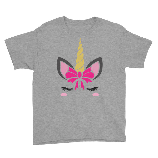 Unicorn Face Youth Short Sleeve T-Shirt - Apparelized