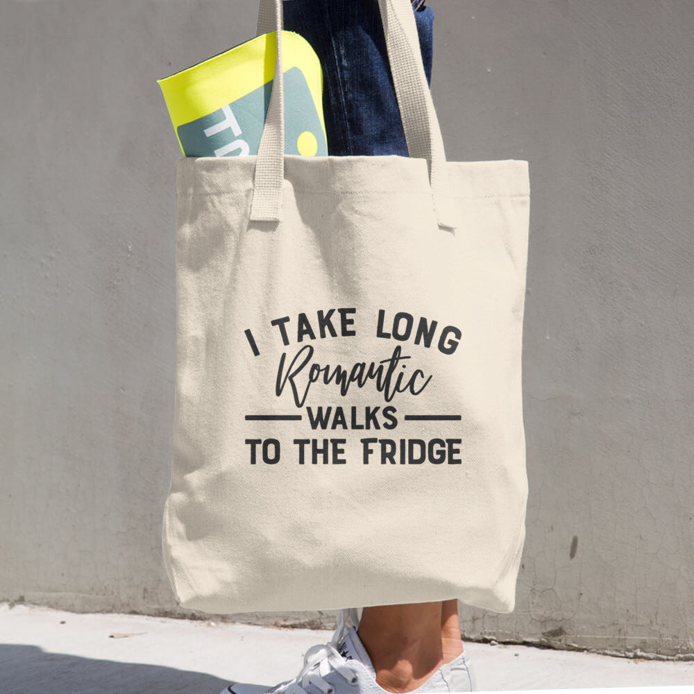 I Take Long Romantic Walks to the Fridge Cotton  Grocery Tote Bag - Apparelized