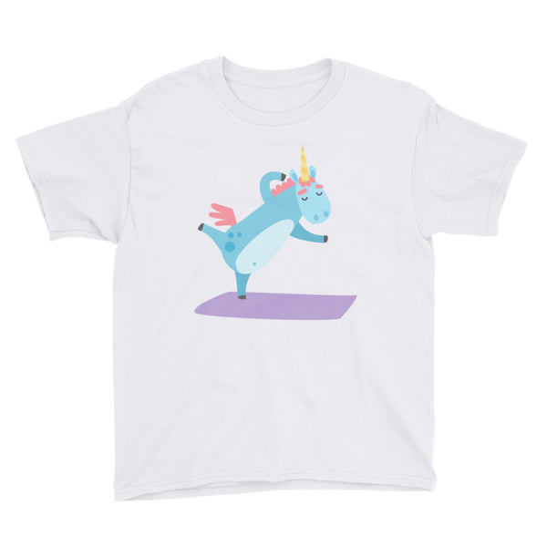 Unicorn Doing Yoga Youth Short Sleeve T-Shirt - Apparelized