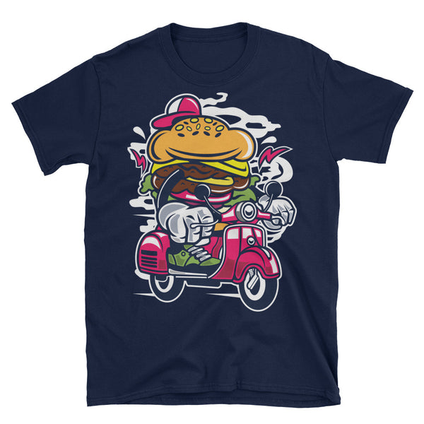 Burger on a Vespa Scooter Unisex T-Shirt - Apparelized