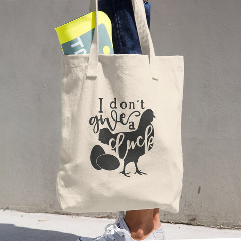 I Don't Give a Cluck Cotton Grocery Re-usable Tote Bag - Apparelized