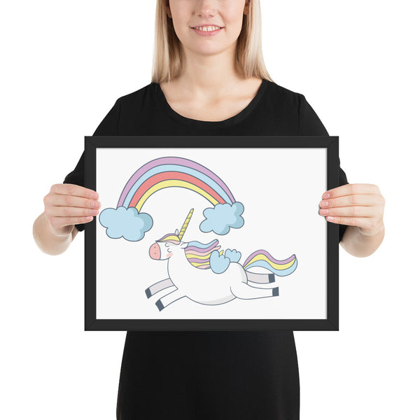 Rainbow Unicorn Framed poster - Apparelized