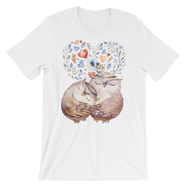 Owls with hearts Short-Sleeve Unisex T-Shirt - Apparelized