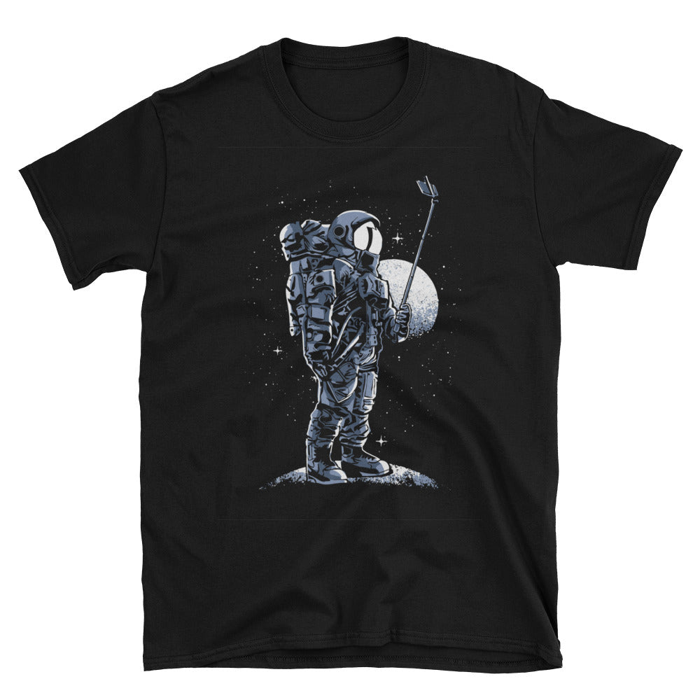 Astronaut Selfie Stick Short-Sleeve Unisex T-Shirt - Apparelized