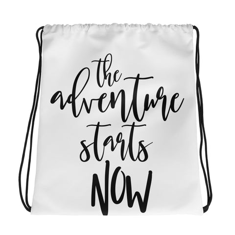 The Adventure Begins Drawstring bag - Apparelized