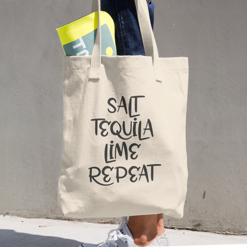 Salt Tequila Lime Repeat Cotton Tote Bag - Apparelized