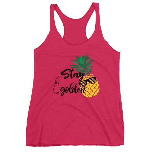 Stay Golden Pineapple Women's Racerback Tank - Apparelized