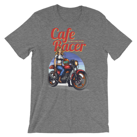Cafe Race Girl Short-Sleeve Unisex T-Shirt - Apparelized