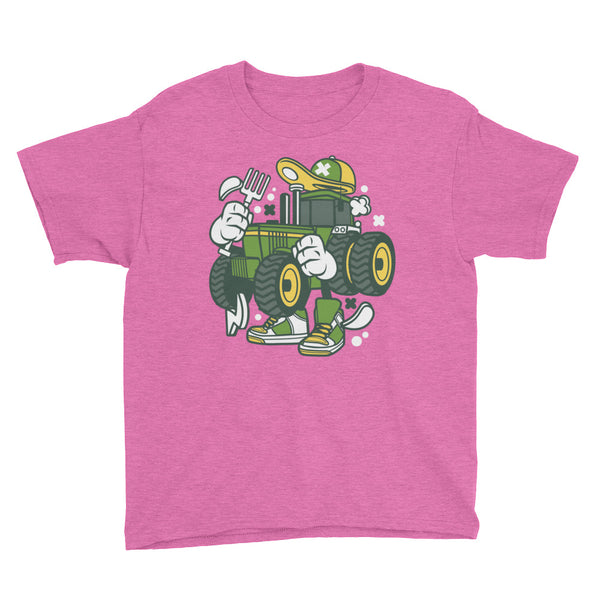 John Deere Tractor Cartoon Youth Short Sleeve T-Shirt - Apparelized