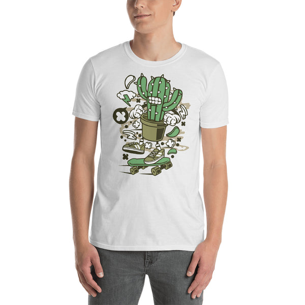 Cactus Cartoon Dude on Skateboard - Gift For Teen - Cactus Graphic Tee