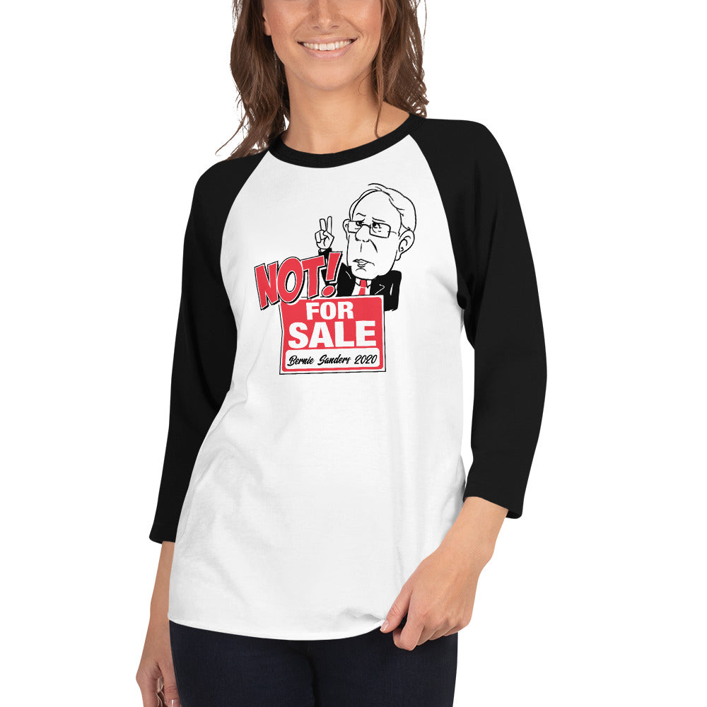 Not For Sale Bernie Sanders 2020 3/4 sleeve raglan shirt