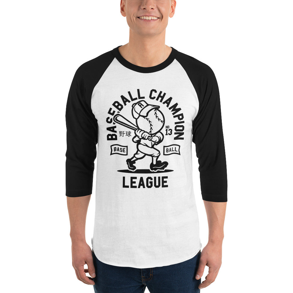 Cool Cartoon Baseball Champion League 3/4 sleeve raglan shirt - Apparelized