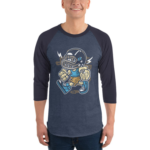 Mean Football Player 3/4 sleeve raglan shirt - Apparelized