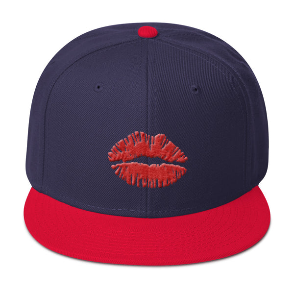 Kiss Lips Embroidered Snapback Hat